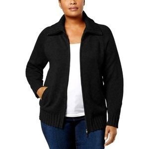 Karen Scott Cardigan Sweater Black Zipper 1X 2X